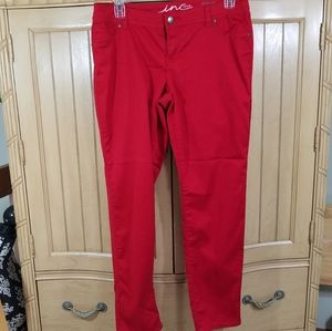 INC Denim Red Skinny Leg, Curvy Fit, sz 14